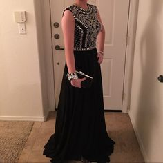Jovani Black Rhinestoned Dress DL24413 Jovani Black Rhinestoned Dress.Worn for a few hours.No holes or stains.Normal signs of wear on bottom of dress where it touched the floor. It's on M E R C A R I.Style is DL24413/ Jovani Dresses Prom