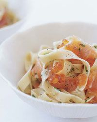Pasta with Salmon Caviar Recipe on Food & Wine Juicy salmon eggs add a delicate crunch to this luxurious pasta dish. If you prefer a more subtle fish flavor, substitute trout roe and smoked trout for the salmon roe and smoked salmon.