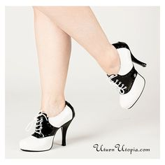 White Black Two Tone Saddle Shoes /Pin Up/Rockabilly/Retro ❤ liked on Polyvore featuring shoes, 2 tone shoes, rockabilly shoes, retro inspired shoes, white and black saddle shoes and retro style shoes