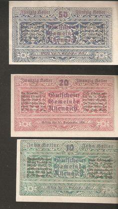 AUSTRIA UTZENAICH 10 & 20 & 50 heller 1920 Austrian Notgeld 3psc. lot banknotes