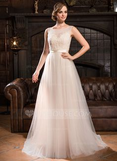 [£157.00] A-Line/Princess Scoop Neck Sweep Train Tulle Lace Wedding Dress With Beading Sequins