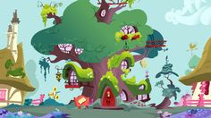Golden Oak Library is a large hollowed-out tree and the home of Twilight Sparkle