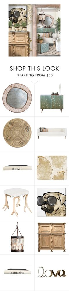 """Pug Life"" by thewondersoffashion ❤ liked on Polyvore featuring interior, interiors, interior design, home, home decor, interior decorating, Bliss Studio, BD Fine Wallcoverings, Oliver Gal Artist Co. and Lowcountry Originals"