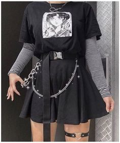 Retro Outfits, Grunge Outfits, Cute Casual Outfits, Vintage Outfits, Flannel Outfits, Black Outfit Grunge, Black Grunge, Egirl Fashion, Teen Fashion Outfits
