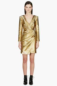 SAINT LAURENT Gold Long Sleeve Deep V Wrap Dress