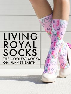 Start expressing yourself from head to toe. Check out our collections of the coolest socks on planet earth! Silly Socks, Crazy Socks, Cool Socks, Rainbow Socks, Punk Outfits, Knee High Socks, Kawaii Clothes, Harajuku Fashion, Evie