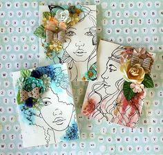 Blooming Cards on Live with Prima-Card Set by Cari Fennell for Prima using NEW Bloom Girl stamps! Free class here on 8/7 at 6:30pm PT: http://www.ustream.tv/channel/primaflower #livewithprima #prima #bloomgirls #jamiedougherty #cards #stamps #stamping