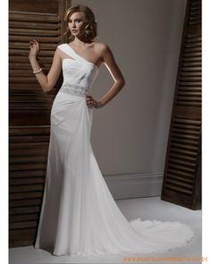 2013 Schlichte Brautkleider aus Chiffon sexy Korsett mit Einschulterträger Kolumne Schleppe