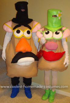 Homemade Mr. & Mrs. Potato Head Costumes: My husband and I decided to be Mr. & Mrs. Potato Head for a costume party that we attended for Halloween this year.    For the bodies of the costumes I