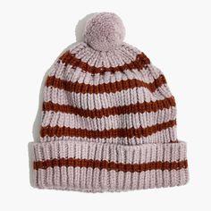 de27f9a8e3b2ca Madewell Womens Stripe Pom-Pom Beanie Pom Pom Hat, Madewell, Hair Pins,