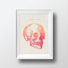 Watercolor Skull Vintage Illustration Printable Art by VNBDesigns