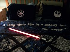 A better view of the applique' that I did on the Star Wars quilt!