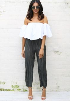 Wide Leg High Waisted Cropped Plissé Trousers in Khaki Green - One Nation Clothing - Lola May - 1