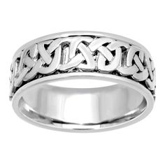 14K White Gold Comfort-fit Celtic Wedding Band (Size 7), Women's, Size: 6