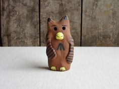 Pottery Animals, Ceramic Owl, Black N Yellow, Primitive, Whimsical, Wings, Miniatures, Clay, Sculpture