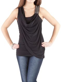 Sleeveless Rouched Side Draped Neck Top: Dots.com
