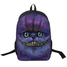 Wolf Husky Printing Backpack Men Women Street Rock Backpack Pug Backpacks For Teenager Girls Boys School Bags Hip Hop Backpacks