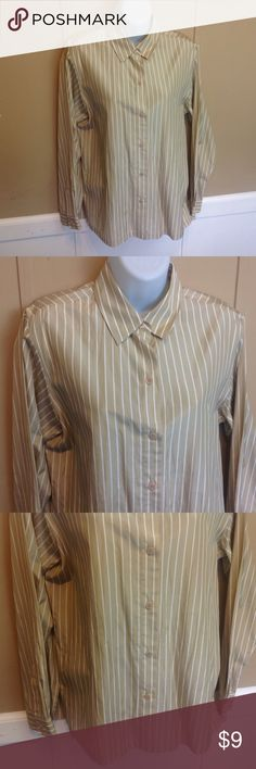 """Josephine Chaus Striped Button Down Blouse Maker: Josephine Chaus ♥ Material: 70% Spandex 30% Cotton ♥ Color: Tan and White Stripe ♥ Measured Size: Pit to pit- 19"""" Pit to cuff- 19"""" Shoulder to waist- 26"""" ♥ Tag Size:  8 ♥ Actual Size: 8 PLEASE CHECK YOUR ACTUAL MEASUREMENTS TO MAKE SURE IT IS THE RIGHT SIZE! THANKS! ♥ Condition: Great Like New Used Condition  ♥ Item #: (office use only) C  Follow us on Instagram and facebook for coupon codes  INSTAGRAM-thehausofvintage1984 Facebook…"""