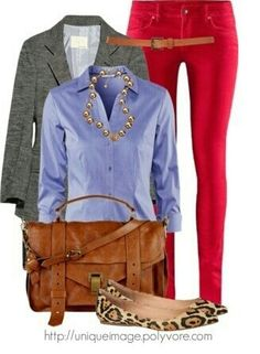 Red pants and lightblue blouse
