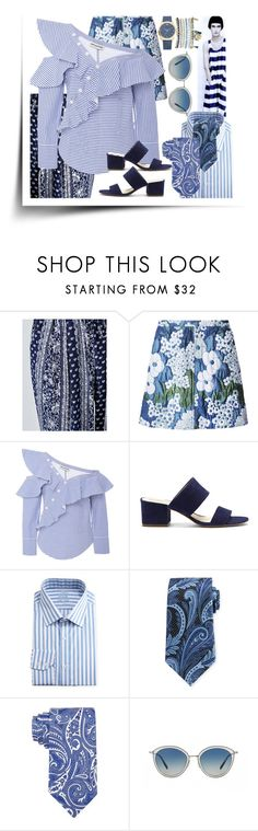 """""""Stripes & Paisley: His and Hers"""" by lvoth ❤ liked on Polyvore featuring Carven, self-portrait, Vince Camuto, English Laundry, Ermenegildo Zegna, Lauren Ralph Lauren, Oliver Peoples and Mixit"""