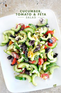 Make an easy greek salad by combining cucumber, tomato & feta with organic oregano and Kalamata olives. It's truly a salad everyone will love!   Simply Organic