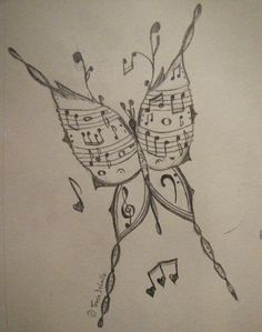 The musical butterfly art sketches, cool art drawings, music drawings, amaz Music Drawings, Cool Art Drawings, Drawing Sketches, Pencil Drawings, Simple Drawings, Amazing Drawings, Realistic Drawings, Beautiful Drawings, Cartoon Drawings