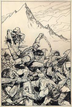 Mike Ploog cover art for Monster of Frankenstein #4, 1973