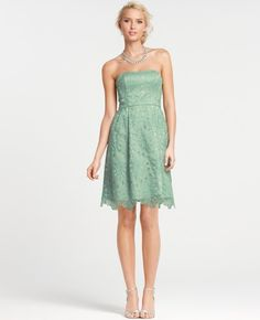 Ann Taylor Silk Embroidered Strapless Bridesmaid Dress in Green (frosted fern)