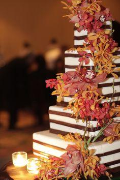Deep Blush Pink and Orange Cream Wedding Cake Floral Design by Lee James Floral @ www.leejamesfloral.com