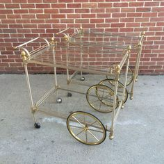 Mid Century Modern Nickel Brass Bar Tea Serving Cart Made in Italy | eBay