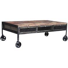 This caster wheel coffee table features 3 large sliding mesh drawers which are accessible on both sides of the table. Perfect for storage, this piece is made from environmentally friendly reclaimed wood, and has working rolling caster wheels.