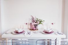 Romantic Pink and Silver Table for Two