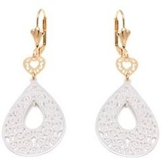 Peermont Gold And Silver Filigree Cutout Heart And Teardrop Drop Earrings.
