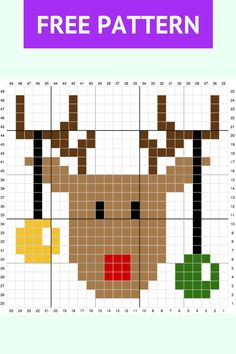 Crochet Rudolph the Reindeer Pattern Graph Xmas Cross Stitch, Cross Stitch Charts, Cross Stitch Designs, Cross Stitching, Cross Stitch Embroidery, Cross Stitch Patterns, Christmas Afghan, Christmas Knitting, Christmas Cross