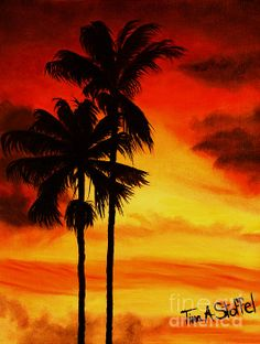 Palm Tree, Sunset Painting, Sunsets, Palm Trees, Oil Painting, Canvas Art, by Tina A Stoffel Arts. Original 11x14 for sale $150.00 or prints available on Fine Art America/Pixels. Click on photo for details.