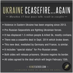 Ukraine and Pro-Russian Separatists fighting in Eastern Ukraine have reached a tentative ceasefire agreement.
