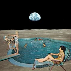Interesting take on what the future may bring and isolation from the world. The Earth sits in the background, far away, as a group of people swim in a pool. They seem to notice something outside the visible region. Is it more civilization, or an unforeseen future danger?