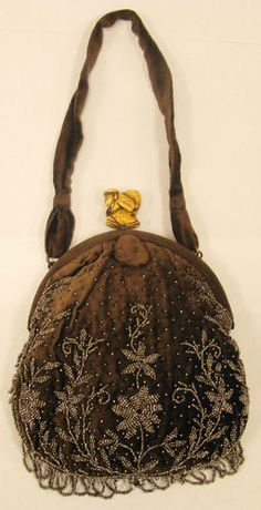 Vintage Velvet Purse with steel Bead Embroidery in our store $200