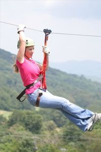 A great way to view the Blue Ridge Mountains is in the air. Hawksnest Zipline features 20 different ziplines. From over 2,000 feet long to over 200 feet high and traveling up to 50 mph, this is a great adventure.
