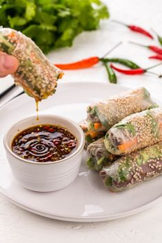 Vietnamese spring rolls with a vegetarian twist, featuring smoked tofu to make d. Vietnamese spring rolls with a vegetarian twist, featuring smoked tofu to make d… Vegetarian Spring Rolls, Vegan Spring Rolls, Thai Spring Rolls, Vegetarian Dinners, Vegetarian Pho, Vegetarian Starters, Shrimp Spring Rolls, Chicken Spring Rolls, Fresh Spring Rolls