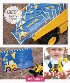 Caution: Party Zone! Construction Party Ideas For Baby Showers & Birthday Parties. #constructionpartyideas #bigdot #happydot