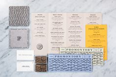 Logo, menus and coasters designed by Dan Blackman for Chicago restaurant, bar and entertainment venue The Promontory