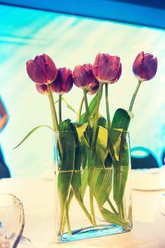 Perfect centerpiece idea! Purple tulips!! #Minnesota #weddings
