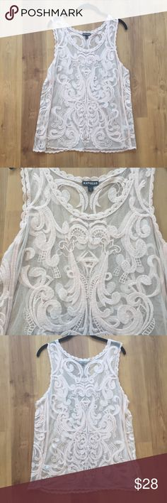 NWOT Express Blush Lace Tank NWOT Express lace tank. Gorgeous lace, blush color. Can't recall ever wearing. Never washed, as inspection sticker is still on it. Sorry, no trades. Express Tops Tank Tops