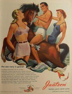 1940s JANTZEN Advertisement Swimsuits Men Women Swim Trunks Vintage Illustration 2 by Christian Montone,