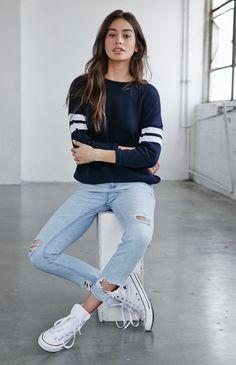 Breezy Blue Ripped Skinny Boyfriend jeans