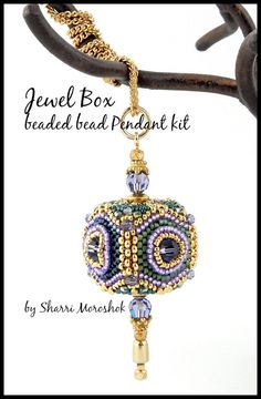 "Beaded Bead Kit - ""Jewel Box"" beaded bead pendant kit - includes instructions…"