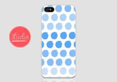 Blue WATERCOLORED POLKA DOTS - iPhone 4, iPhone 4s, iPhone 5, iPhone 5s, iPhone 5c Case