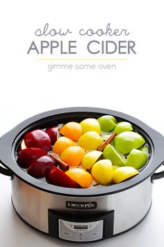 Gimme Some Oven Slow Cooker Apple Cider Slow Cooker Apples, Crock Pot Slow Cooker, Crock Pot Cooking, Slow Cooker Recipes, Crockpot Recipes, Cooking Recipes, Crock Pots, Crockpot Dishes, Cooking Ideas
