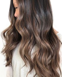 Long Wavy Ash-Brown Balayage - 20 Light Brown Hair Color Ideas for Your New Look - The Trending Hairstyle Brown Hair Shades, Brown Ombre Hair, Brown Hair Balayage, Brown Hair With Highlights, Brown Blonde Hair, Light Brown Hair, Hair Color Balayage, Brown Hair Colors, Subtle Balayage Brunette
